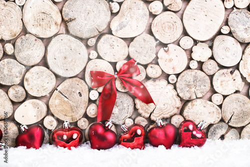 canvas print picture Winter background with christmas deko