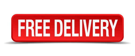 free delivery red 3d square button isolated on white background