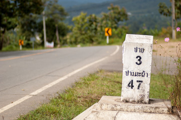 Milestone on the road to Pai, Mae Hong Son, Thailand