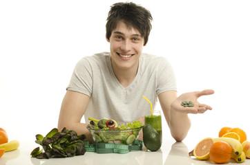 Eating green food and taking spirulina pills