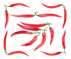 Set of ripe red chili peppers isolated on white background
