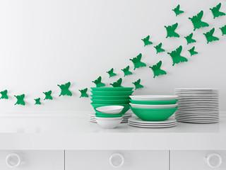 Ceramic kitchenware on the shelf.