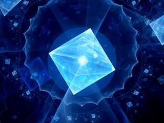 Glowing blue square shape virus