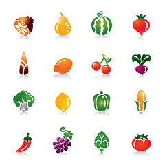 Fruit and Vegetables Colorful Icons