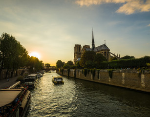 Sunset rays over Notre Dame cathedral