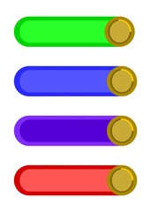 Four simple stylized colorful web buttons