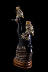 handcraft two owl on tree made from horn