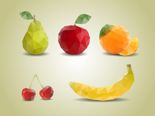 Polygonal fruit illustrations