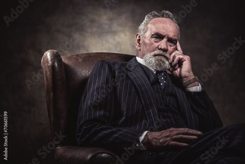 Poster In chair sitting characteristic senior business man. Gray hair a