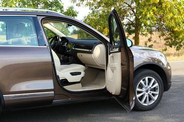 Modern car with open door, outdoors