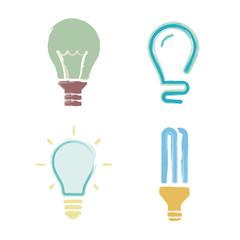 Cartoon set light bulb symbols