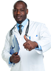 Portrait of a smiling male doctor holding a notepad and finger u