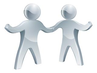 Handshake silver people