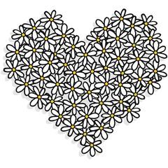 stokrotki pełne serce ilustracja na białym tle