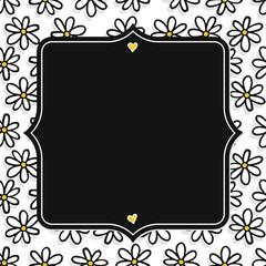 stokrotki nieskończony deseń na białym tle z ciemną ramką