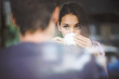 Leinwanddruck Bild - Young couple on first date drinking coffee