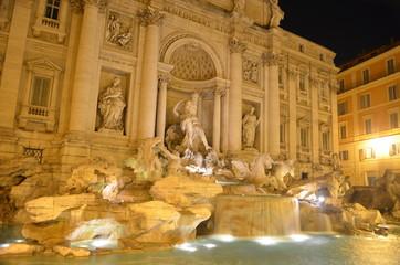 Night view over fontana di trevi in rome