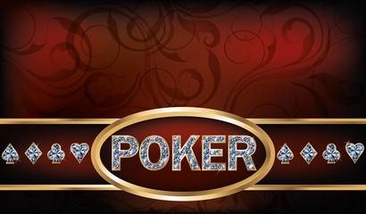 Poker invitation card, vector illustration