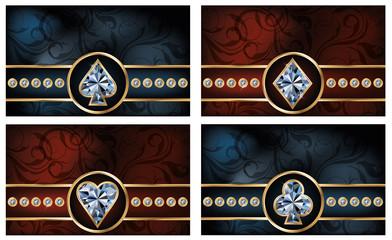 Set brilliant poker cards, vector illustration