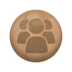 Bouton en bois sans ombre : groupe