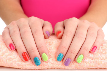 Woman hands with bright manicure, close-up