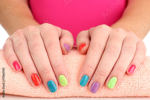 canvas print picture Woman hands with bright manicure, close-up