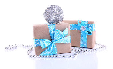 Holiday gift boxes decorated with blue ribbon isolated on white
