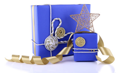 Blue holiday gift boxes isolated on white