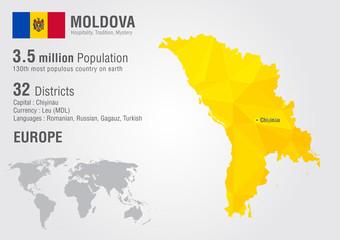 Moldova world map with a pixel diamond texture.