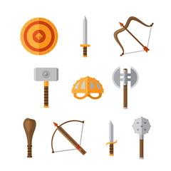 weapon flat icon set