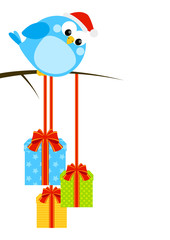 Cute little bird with Christmas gifts