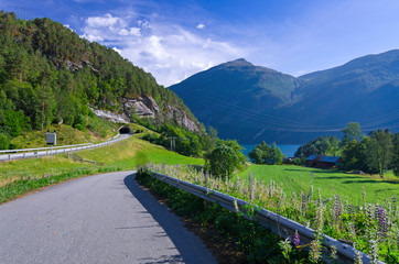 Norwegian road in Beautiful scenery