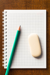The pencil and eraser