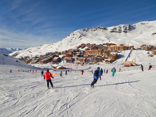 Ski slope at Val Thorens, the Alps, France