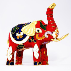 Decorative red miniature elephant statue