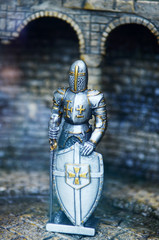 Mediaeval Knight statues in the ancient metal armor