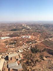 Vue aérienne de la banlieue d'Antananarivo