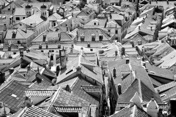 Old red roof tiles - in black and white
