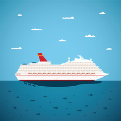 Vector illustration of big sea cruise liner in modern flat style
