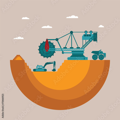Vector concept of mine at mineral deposit place with waste heap - 70666923