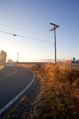 road in the countryside with the morning light