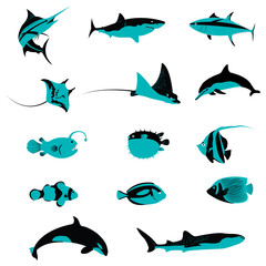 Set of Fish Underwater Aquatic Shell Animals and Creatures icons