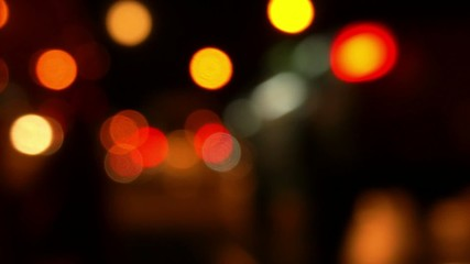 Night City Traffic on Road. Night Island Life. Bokeh.