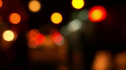 Night City Traffic on Road. Night Island Life. Bokeh.