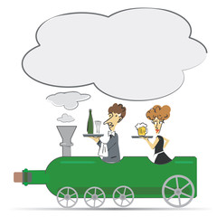 Waiter and waitress on the Wine bottle locomotive