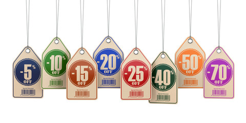 Sale tags labels discount on white isolated background.