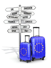 Travel concept. Suitcases and signpost what to visit in European