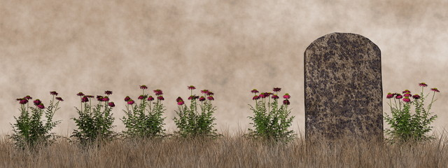 Vintage tombstone - 3D render
