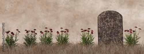 Fotobehang Begraafplaats Vintage tombstone - 3D render