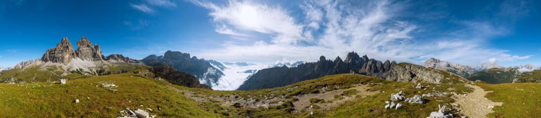 360 degree panorama shot of Dolomits